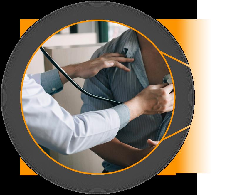 Grafika przedstawiajace badanie stetoskopem klatki piersiowej